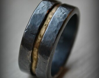 Mens wedding band, rustic fine silver and brass ring, handmade oxidized artisan designed wedding band, customized ring, custom hand stamping