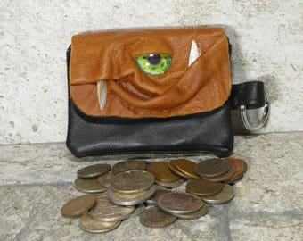 Coin Purse Zippered Change Purse Brown Black Leather Monster Face Pouch Key Ring Harry Potter Labyrinth 36
