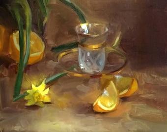 Daffodils Gold Cup and Oranges Still Life, Still Life Oil Painting, Oranges, Gold Shot Glass, Glass, Fine Art, Impressionism, Original Art