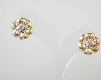 Classy 14K Two Tone Gold Earring 7.4G(WEIGHT) Diamond 0.30CT