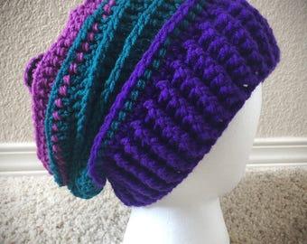 Teal, Purple, Pink, Black Slouchy Hat Women's