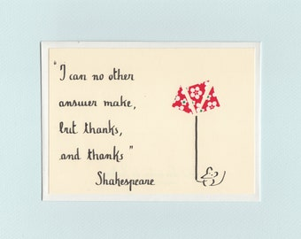 Thank you from Shakespeare and mouse - papercut collage card by Pauline Rousseau