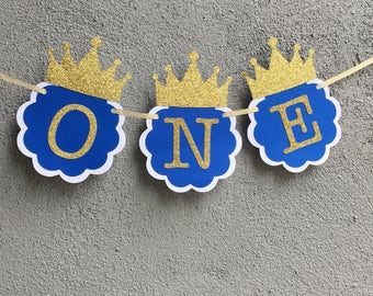 Royal Blue and Gold Prince ONE Highchair Banner