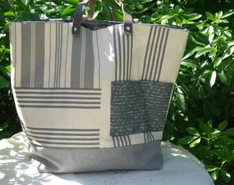 """Tote bag """"Sausalito"""" in striped canvas gray and ecru"""