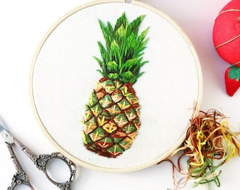 Made to Order - Pineapple Hoop Art | Embroidery Hoop Art Kitchen Decor | Hand Embroidered Plants | Botanical Wall Hanging Home Decor
