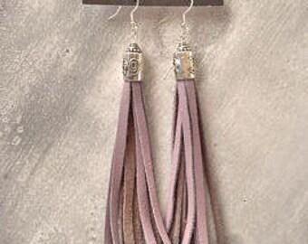 Long Fringe Earrings -  Lightweight Suede Leather Tassel Earrings, Boho Chic, Gift,