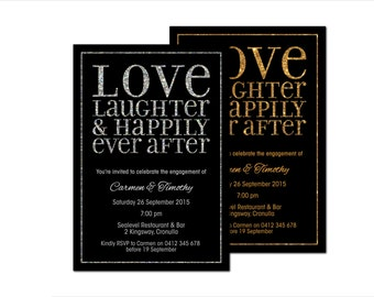 Engagement Invitations   'Love, Laughter & Happily Ever After'   Black Gold Silver Glitter