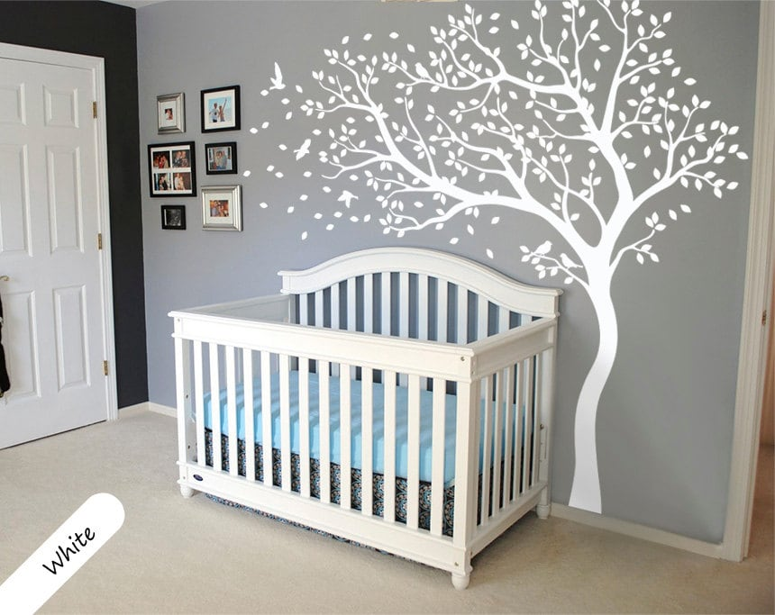 ?zoom : white tree wall decal with shelves - www.pureclipart.com