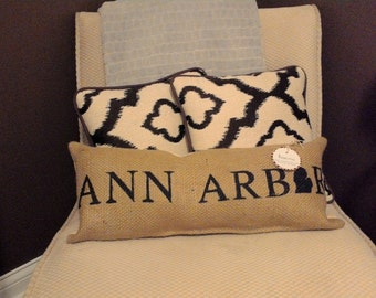 "Ann Arbor Michigan Burlap Pillow 21.5"" x 8""  - rustic cushion - repurposed coffee bean sack - farmhouse pillow - u of m - wolverines"
