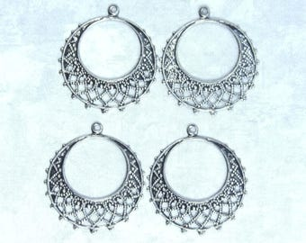 Round Chandelier Earring Antiqued Silver Chandelier Lacy Chandelier Component Chandelier Earring Drop