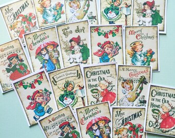 Christmas Stickers - Set of 18 - Handmade Stickers, Vintage Christmas, Cute Planner Stickers, Cute Christmas Kids, Vintage Holiday Stickers