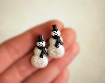 Snowman Earrings -- Snowman Studs, Glittery Snowman Studs, White Snowmen Earrings