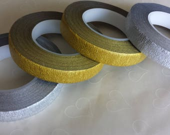 New Item -- 1 roll of floral tape -- 30 Yards, 27 M/per roll, Metallic Gold or Metallic Silver (You Pick The Color), Buy more Save more