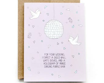 Engagement Card - Wedding Shower Card - Disco Ball