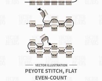 Vector Illustration of Peyote Stitch, Flat Even-Count