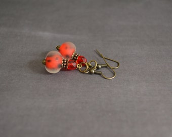 Vintage Style Earrings.Elegant Earrings.Boho Earrings.Bohemian Earrings.Gift For Mom.Gift For Her.Red Earrings.