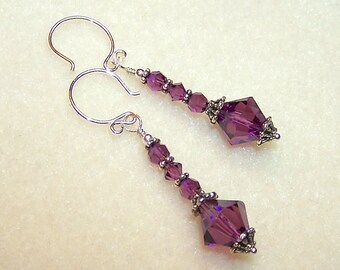 Dark Purple Earrings Amethyst Crystal February Birthstone Jewelry Purple Crystal Gifts for Her