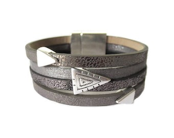Kit faux leather Aztec gray (made in Europe) Cuff Bracelet