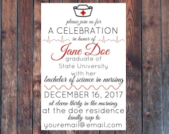 Printable Nursing School Graduation Party Invitation