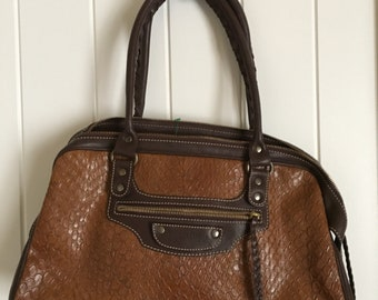 Brown textured leather bag