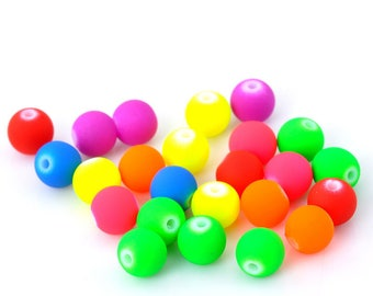Assortment of 30 neon acrylic 8mm round bead