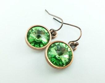 Peridot Drop Earrings Crystal Drop Earrings Antiqued Copper Earrings Swarovski Crystal August Birthstone