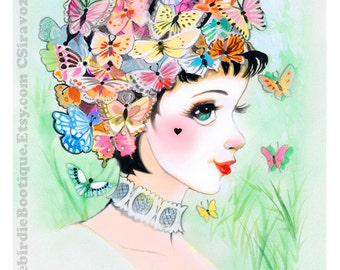 Pierrot Butterfly Retro Shoujo Lady Watercolor Illustration Print 8.5x11