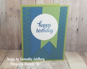 5 Pack of Birthday Cards Blue and Green