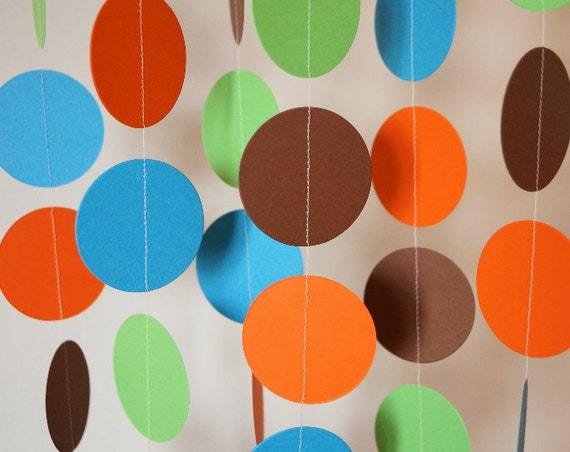 Boy\'s Birthday Party Blue Green Orange & Brown Garland