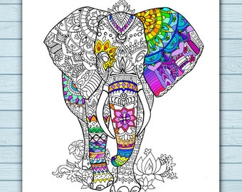 Printable Mandala Elephant Coloring Page
