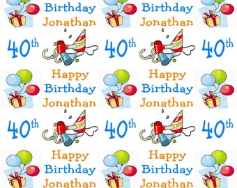 Personalised Wrapping Paper 40th Birthday Gift Wrap With Own Name Any Age