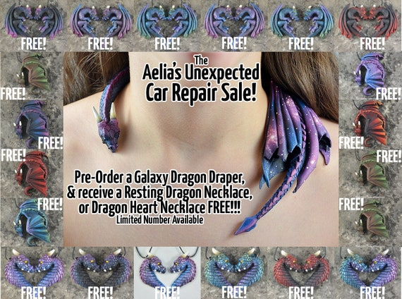 Galaxy Dragon Draper Necklace - With FREE Bonus Necklace - Custom Made PRE- ORDER Shipping in 4-6 Weeks