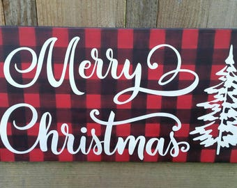 Buffalo plaid Merry Christmas wood sign.