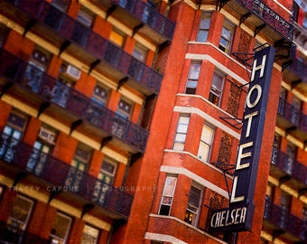 Chelsea Hotel Art Print, New York City Photograph, urban wall art / orange indigo home decor / art for walls / color photography / navy  art