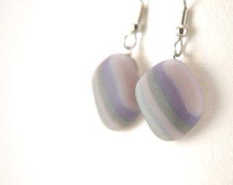 Grey, mauve and purple stripes etched matte fused glass dangle earrings with surgical steel earhooks