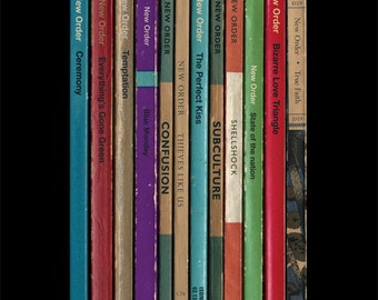 New Order 'Substance' Album As Books Poster Print, Manchester Music Poster