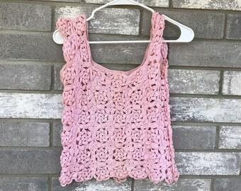 cute pastel baby pink crotchet summer top