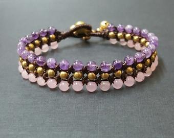 Triple  Amethyst  Rose Quartz  Brass  Bracelet