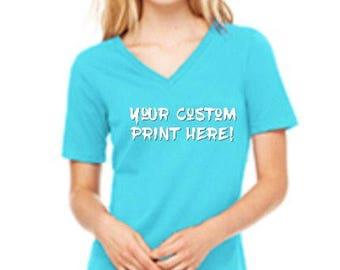 Relaxed Jersey Short Sleeve V-Neck Tee w/ custom print
