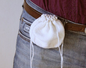 Belt Pouch, Belt purse, Crochet Drawstring Belt Bag, Mini Fanny Pack, medicine keepsake, personal jewelry keeper, knitted messenger bags