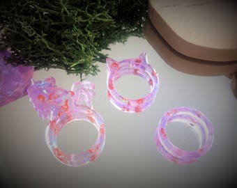 Resin collection purple fairy copper ring