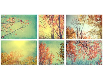 Fall Landscape Wall Decor, Red, Gold, Woodland Art Print Set, Rustic Decor, Autumn Photography, Nature Photography Set