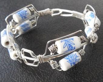 Porcelain Beads in a Sterling Silver Bracelet