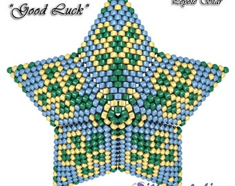 3D PEYOTE STAR Beading Pattern/Tutorial Good Luck Clover + Basic Instructions