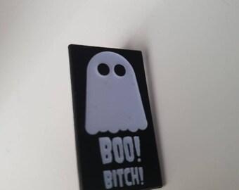Glow in the dark boujee ghost soft enamel pin