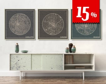 3 SQUARE Maps of North Carolina with 15% Discount  Largest Cities Charlotte Durham Raleigh City Maps printed on canvas Maps ArchTravel