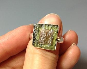 Moldavite ring, US size 8.5