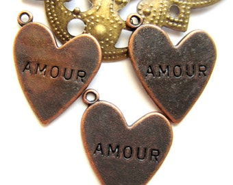 10 Amour heart charms antique copper french word pendant flat love pendant 5342 rustic wedding favor