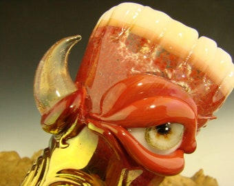 Hand blown Shot Glass Flameworked Art Freaky Monster eye teeth blue Mazet VGW (ready to ship)