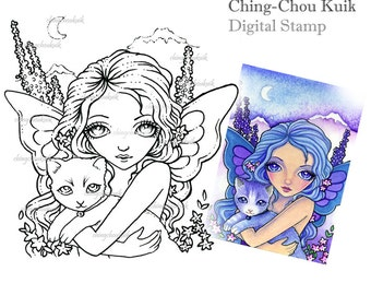 Lavender Adventure Night- Digital Stamp Instant Download / Fantasy Art by Ching-Chou Kuik